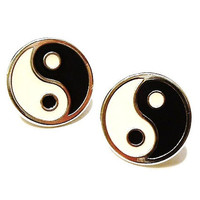 Vintage Yin Yang Symbol Earrings Black White Silver Zen Chinese Philosophy