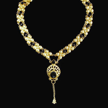 Gold Tone And Black Enamel Bollywood, Y Necklace