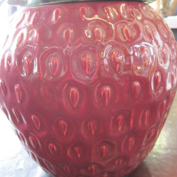 McCoy USA Mid- Century Strawberry Cookie Jar with Lid