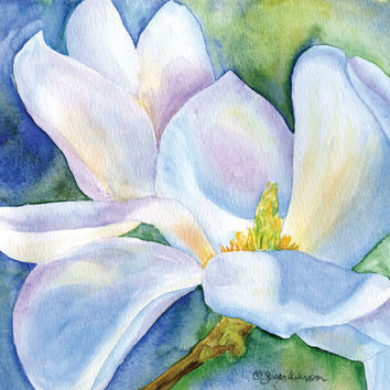 Magnolia Watercolor Painting Giclee Print 10 x 8