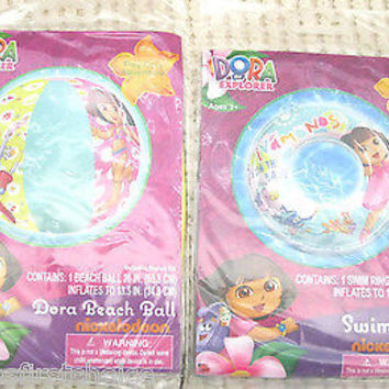 "Dora the Explorer  20"" Beach Swim Ring + Beach Ball by Nick Jr./Nickelodeon-New!"