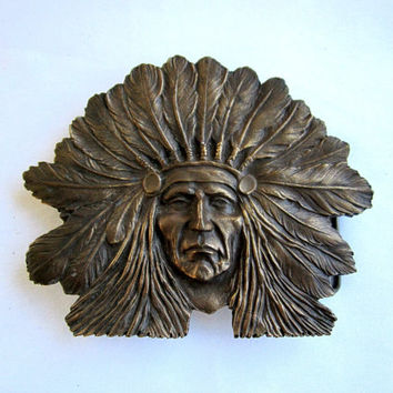 Native American Indian Brass Belt Buckle Large Mens Accessories