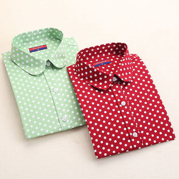 Women's Polka Dot Button-Up Shirt