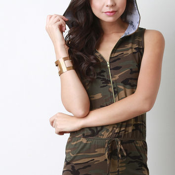 Hooded Camouflage Sleeveless Romper