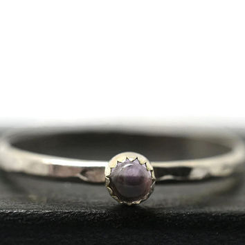 3mm Pink Amethyst Ring, Pink Gemstone Stacking Ring, Skinny Stackable Ring