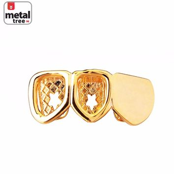 Jewelry Kay style Men's Fashion Right Side 14K Gold Plated 2 Open Plain Teeth Grillz   S30R 2F G