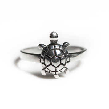 Sterling Silver Small Turtle Ring
