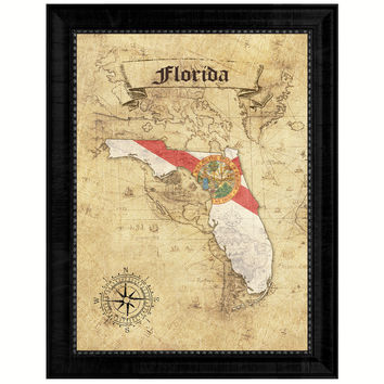 Florida State Vintage Map Gifts Home Decor Wall Art Office Decoration