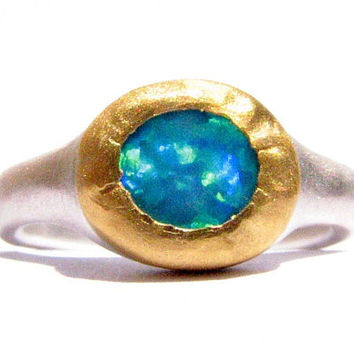 Opal Ring 24k Gold and Silver Ring  Made to order. by Ringsland
