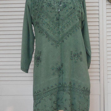 Womens Vintage Green India Mini Dress Sequin Embroidered long tunic hippie dress boho dress ethnic tribal dress cowgirl glam style clothes