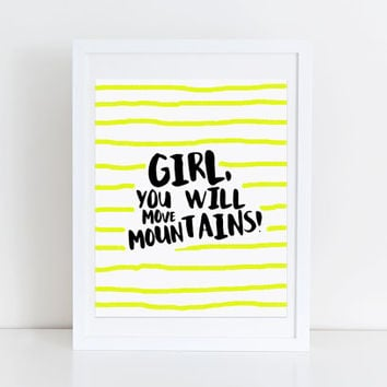 Inspirational Quote Print Black and Yellow Stripe Typography You Will Move Mountains Office Wall Art Yellow Nursery Artwork New Job Gift