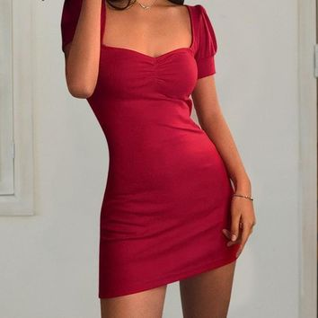 Ribbed Michaela Puff Sleeved Dress