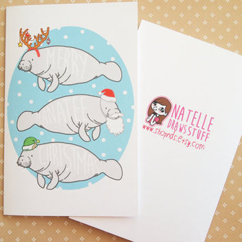 SALE!!! Merry Manatee Christmas greeting card - blank inside, white envelope - Supporting Save The Manatee
