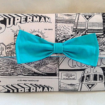 Superman black and grey  comic wallet with aqua teal interior and aqua bow
