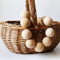30 mm Wooden beads 10 pcs - natural eco friendly