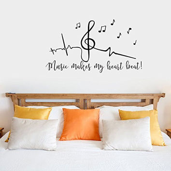 Music Makes My Heart Beat with Music Notes Vinyl Wall Words Decal Sticker Graphic