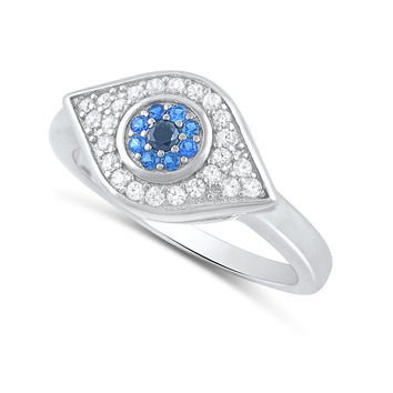 Sterling Silver Blue Cz Evil eye Ring