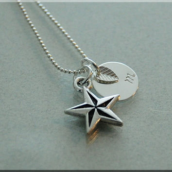 Personalized Nautical Star Necklace, Star Necklace, Nautical Jewelry, Initial charm necklace, Personalized nautical Charm, monogram jewelry