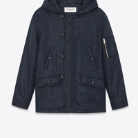 SAINT LAURENT BOMBER PARKA IN DARK NAVY BLUE NYLON | YSL.COM