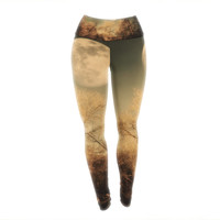 "Sylvia Coomes ""Full Moon "" Brown Nature Yoga Leggings"