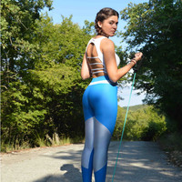 Handmade Blue - Light Blue Grey Silver Leggings Geometric Shapes Athletic Pants Workout Leggings Yoga Leggings Spandex Fabric Sexy Pants