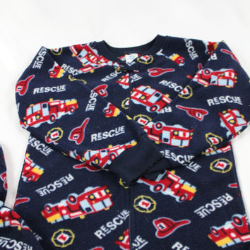 Boys Planet ZZZ Firetruck Footed Pajamas, size 7