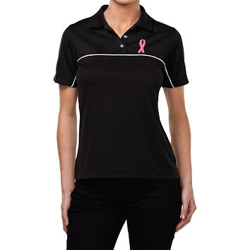 Buy Cool Shirts Ladies Breast Cancer Dry Wicking Polo Embroidered Pink Ribbon