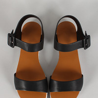 Buckled Open Toe Flat Sandal