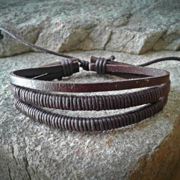 Triple Brown Leather Braided Adjustable Unisex Leather Weave Wrap Bracelets