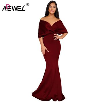 ADEWEL Elegant Women Off Shoulder Formal Party Dresses Vintage Cross Pleated Sleeve Sexy Maxi Dress Vintage Mermaid Long Dress