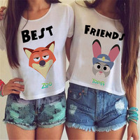 Zootopia BFF Best Friends Cute Movie Tee t-shirt ladies cutoff style cute