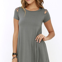 Take Effect Grey Swing Dress