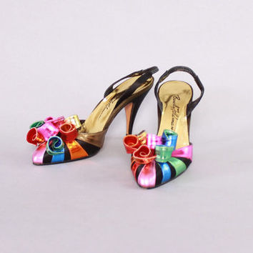 Vintage 80s Party Heels / 1980s Beverly Feldman Rainbow Metallic Leather & Silk Heels 6