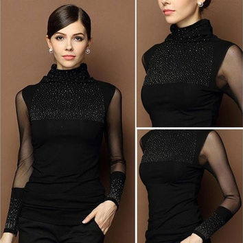 Fashion Women Long Sleeve Shirt Casual Ladies Blouse Cotton Tops T Shirt [8833403660]