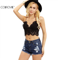 COLROVIE Lace Insert    Summer Style  Crop Tops Hollow Sleeveless  Crochet Overall Slip Lingerie