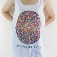 Animal Collective Shirt -- Folk Rock Art Rock T-Shirt Women Tank Top Vest Tunic Top Sleeveless Singlet White T-Shirt Size M