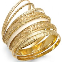 Bar III Gold-Tone Ivory Fabric Multi Bangle Bracelet Set
