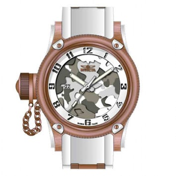 Invicta 11340 Men's Russian Diver Lefty Grey Camouflage Dial White Rubber Strap Rose Gold Tone Stainless Steel Watch