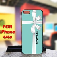 Tiffany Blue Box Gift Design For IPhone 4 or 4S Black Case Cover
