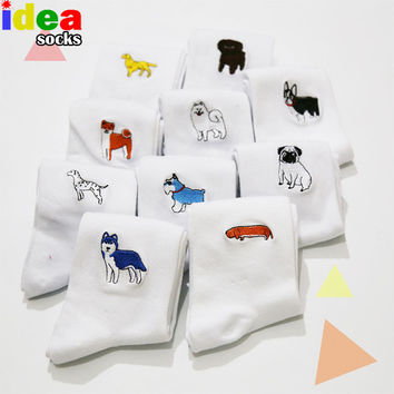 cute animal husky embroidery women cotton white socks lovely dog Jacquard female pure color socks funny kawaii pug meias socks