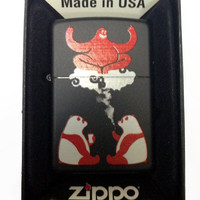 Zippo Custom Lighter - Cute Hallucinating Weed Smoking & Drinking Panda Bears w/ Magical Red Genie Black Matte 218CI014194