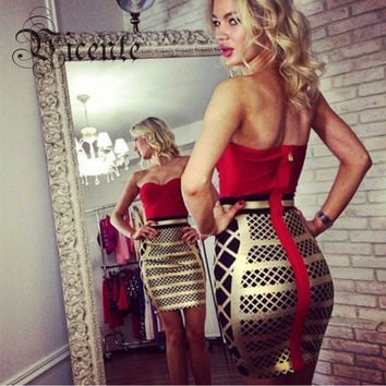 Free Shipping! 2016 New Stunning Fashion Red Patchwork Gold Grid Oil Print Celebrity Party Strapless HL Bandage Dress