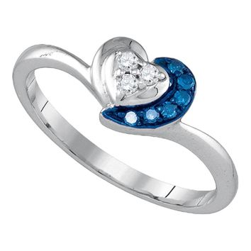 Sterling Silver Women's Round Blue Color Enhanced Diamond Small Simple Heart Ring 1/8 Cttw - FREE Shipping (US/CAN)