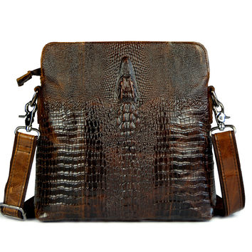 2015 HOT Crocodile pattern genuine leather small messenger bags for men crossbody shoulder bag male cowhide crocodilian handbags
