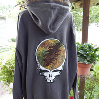 Mens Upcycled Zip Up Gray Grateful Dead SYF OOAK Size XXXL 3XL Hippie clothes, hoodie, recycled hoodie, zip up hoodie, guys hoodie