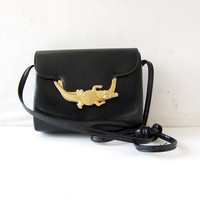 Vintage alligator purse. 80s black & gold purse. chic shoulder bag.