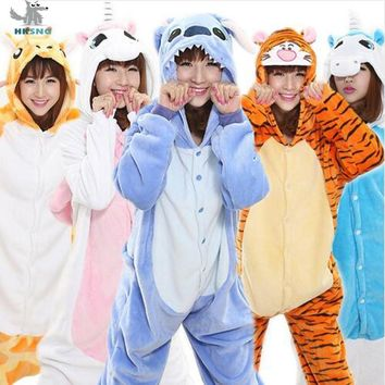 HKSNG Kigurumi Unicorn Winter Flannel Adult Cartoon Animal Stitch Kangaroo Panda Pikachu Giraffe Pajamas Onesuit Cosplay Costume
