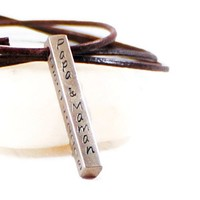 Papa & Mamman Necklace. Four Sided Bar Necklace.