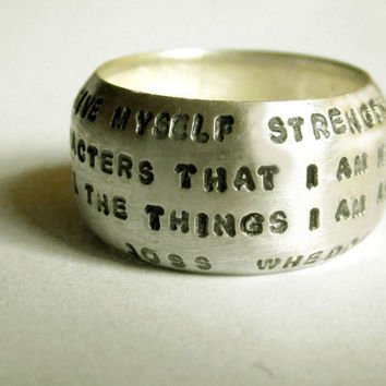 Hand Stamped Wide Dome Ring by donnaodesigns by donnaOdesigns