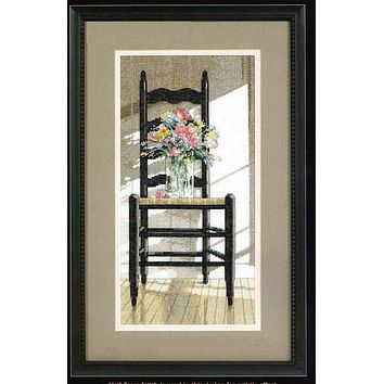 Top Quality Gold Collection Lovely Counted Cross Stitch Kit Chair with Flowers Flower in Vase dim 35146